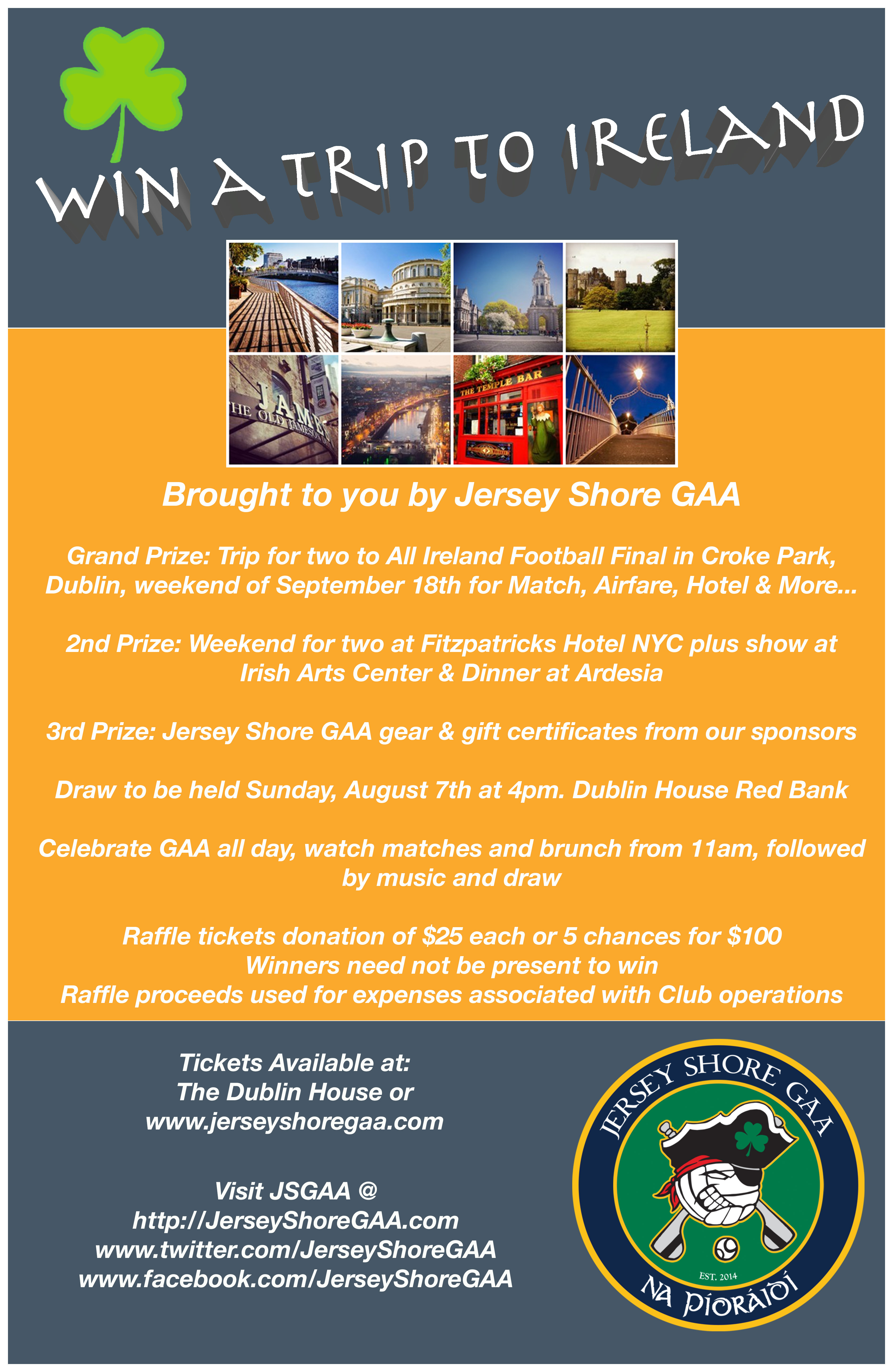Jersey Shore GAA 2016 Raffle, draw date August 7th